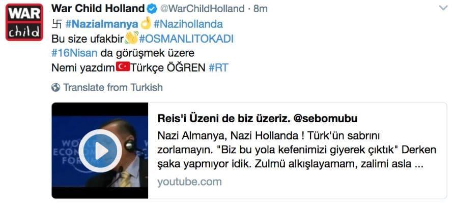 اختراق الحساب الهولندي لمنظمة طفل الحرب على تويتر